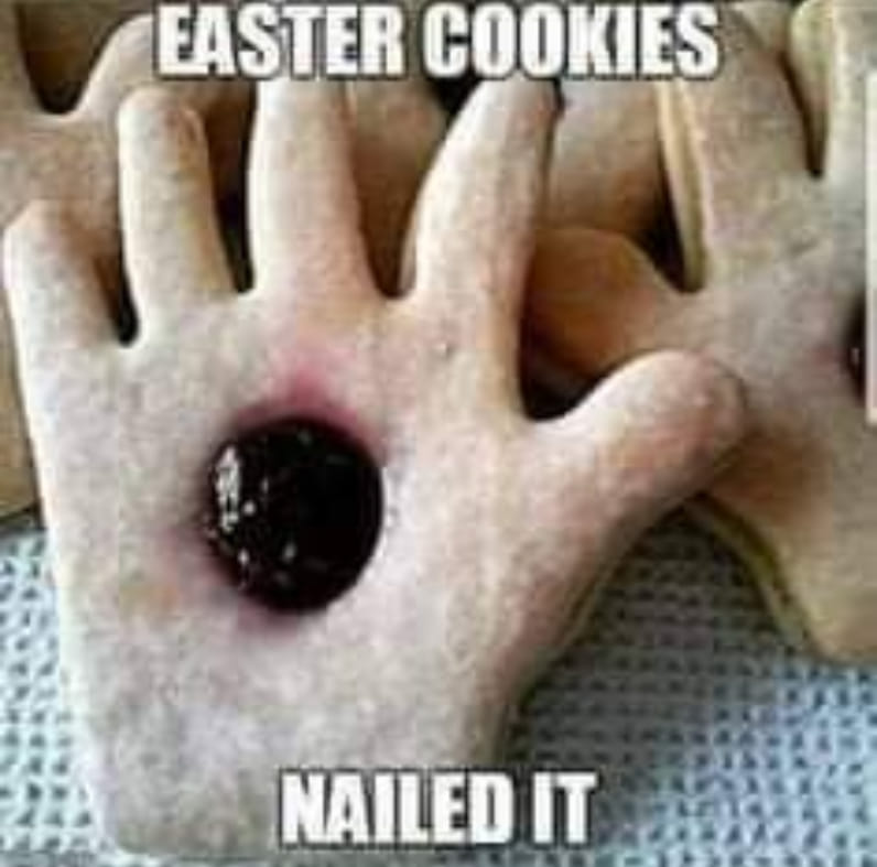Easter cookies, nailed it. Cookies handshaped with a red dot of jam in it.