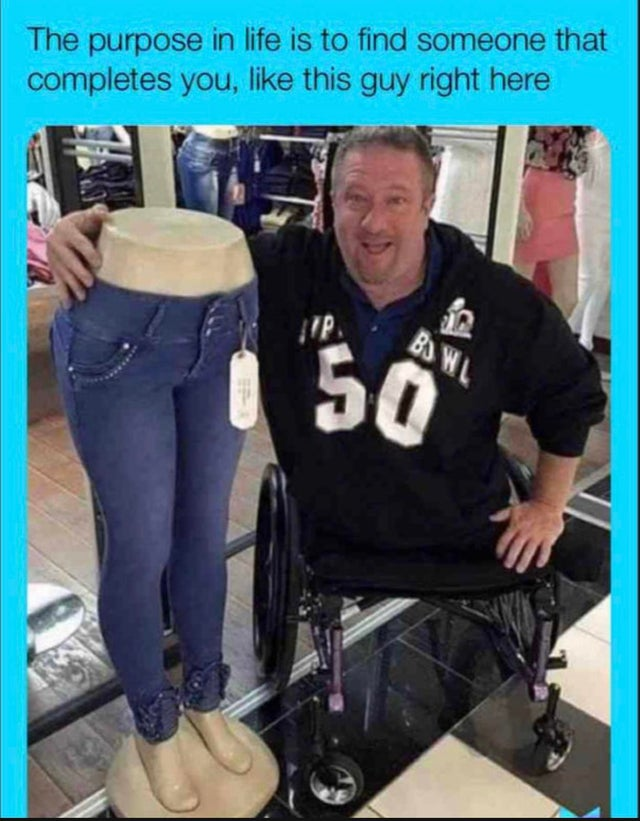 Guy without legs in wheelchair finds its significant other (pair of legs).