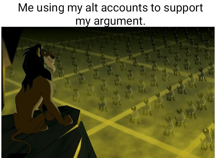 Scar watching his army of hyenas.