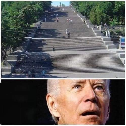 Biggest stairs in the world with face of president Biden.