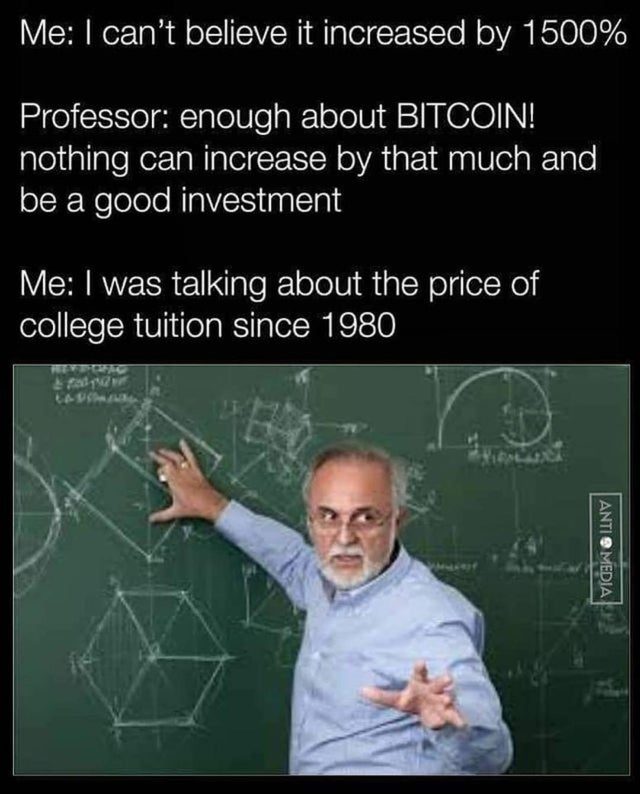 Professor who thinks the 1500% increase is about bitcoin, but actually it is about college tuition.