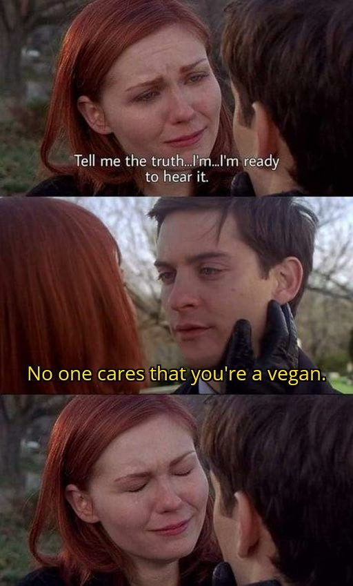 Tell me the truth, i'm ready to hear it. No one cares that you are a vegan.
