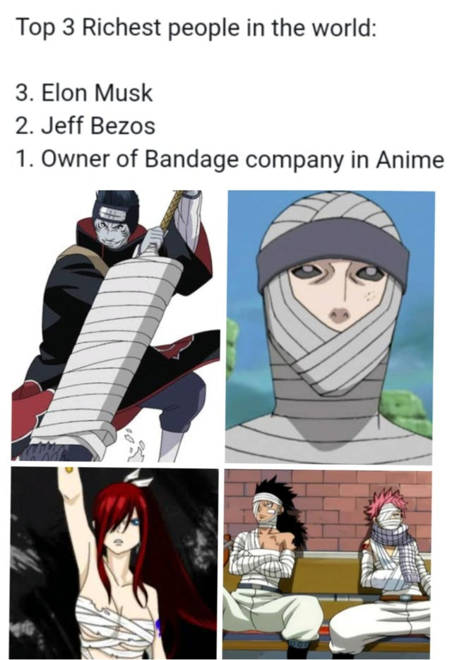 Top 3 richest people in the world. 3 Elon Musk. 2 Jeff Bezos. 1 Owner of bandage company in Anime.
