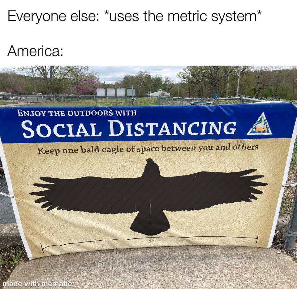 Keep the size of one bald eagle of space between you and others for social distancing.