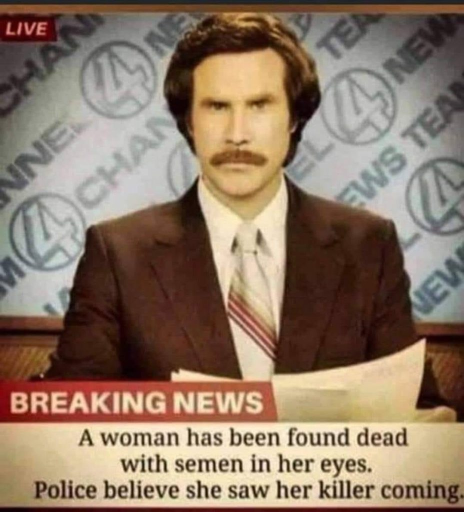 News anchor reading the news about a woman found dead with semen in her yes.