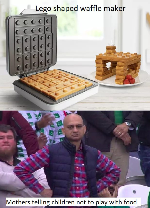 Lego shaped waffle maker. Mothers telling children not to play with food.