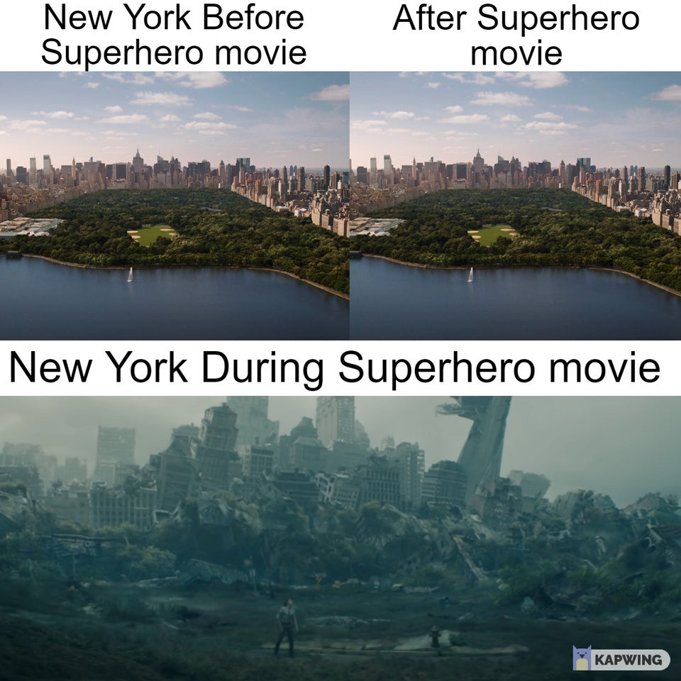 New York before/after and during superhero movies.